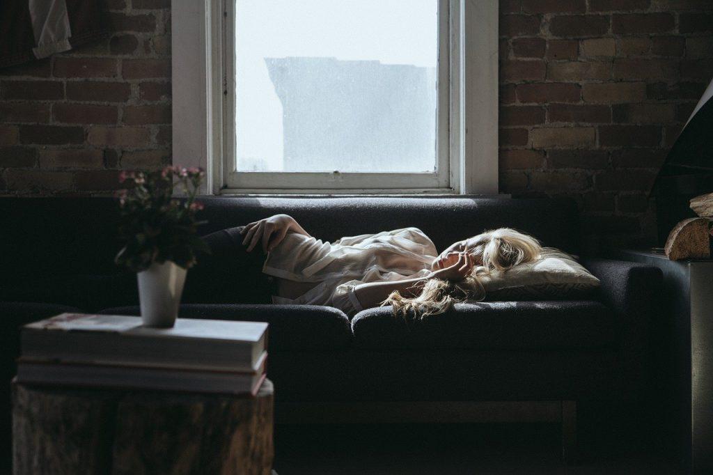 woman, sleeping, sofa